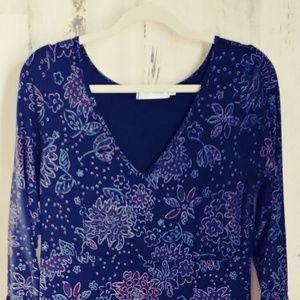 Fresh Produce Ruffled Floral knit Dress L